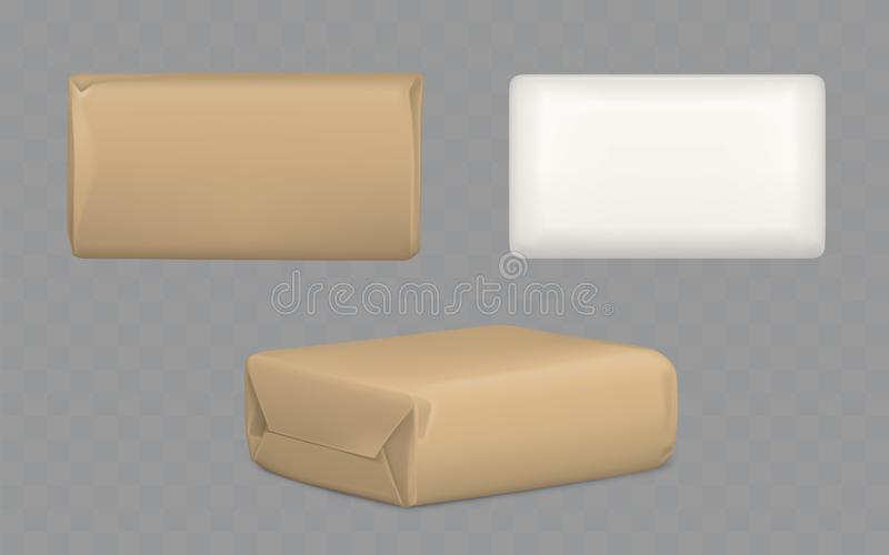Parcel packages wrapped to brown and white paper. Parcel package boxes wrapped to brown and white paper top and side view, vector blank packaging mock up for vector illustration