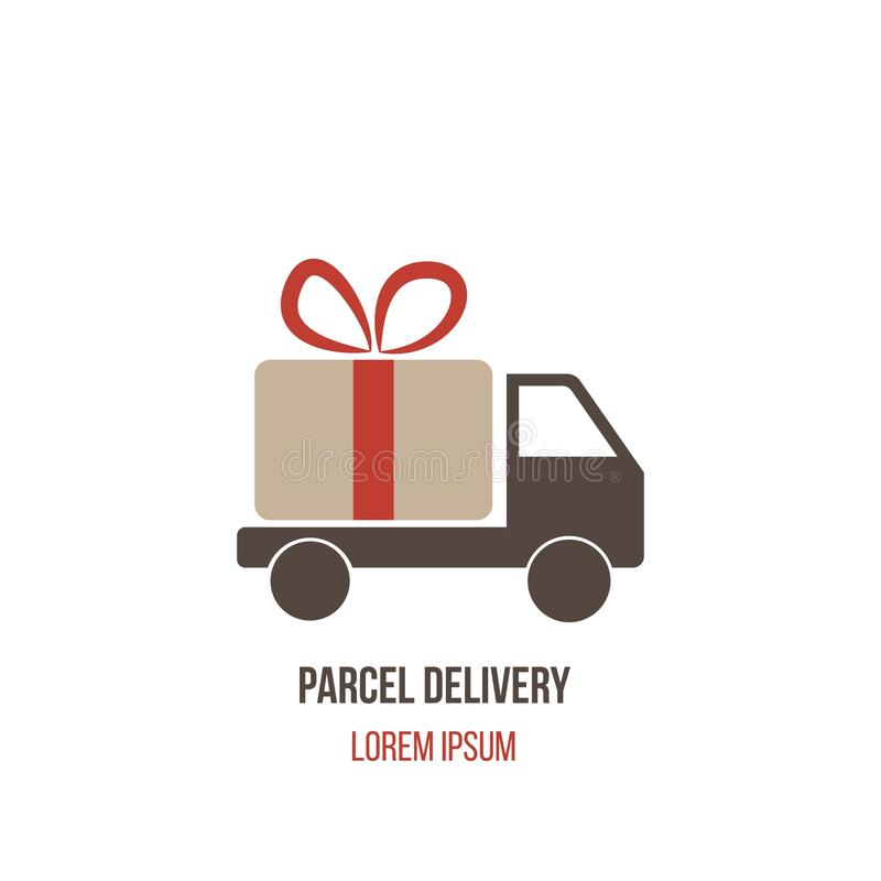 Parcel and Present Delivery Service Truck Logo Template. Postal and cargo delivery services concept illustration vector illustration