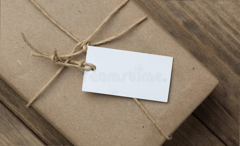 Parcel a price tag royalty free stock photo