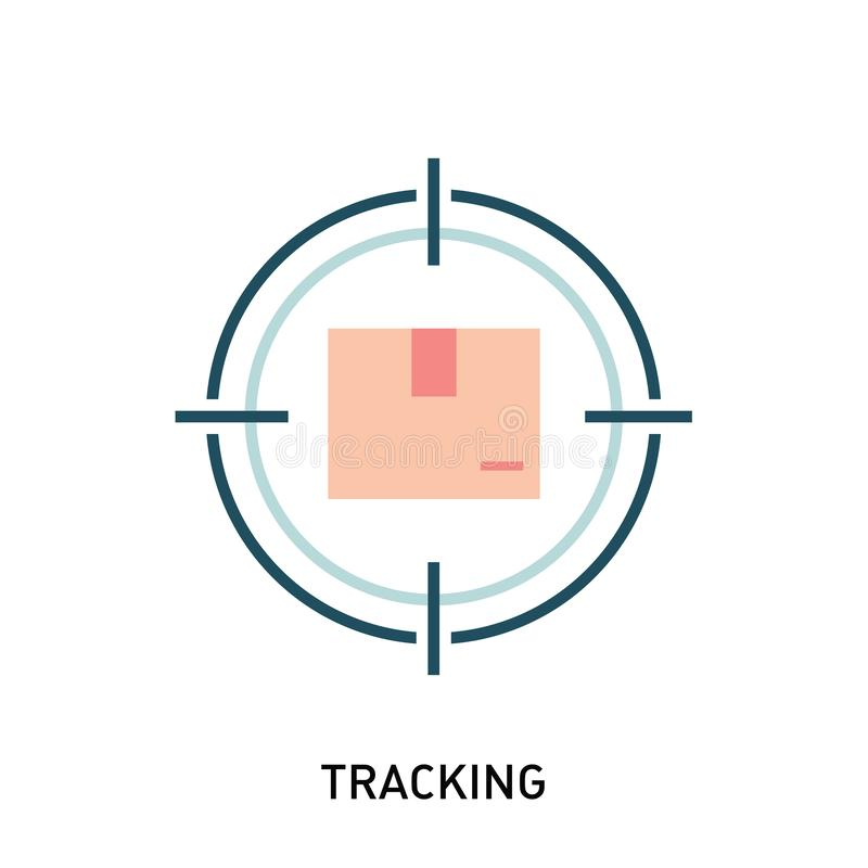 Parcel tracking icon. Box in target. royalty free illustration