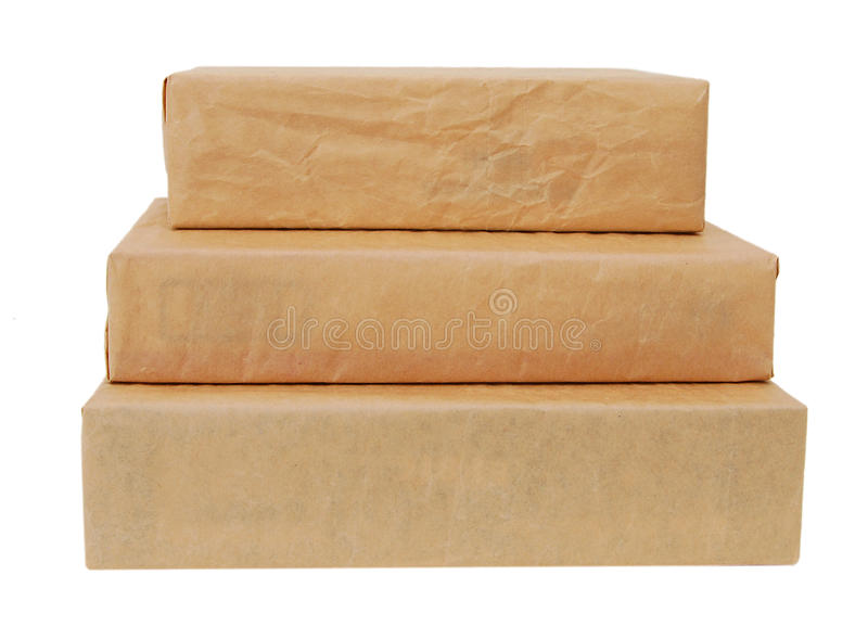 Parcel wrapped with brown paper stock photography