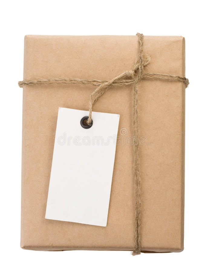 Parcel wrapped packaged box and label on white stock photos