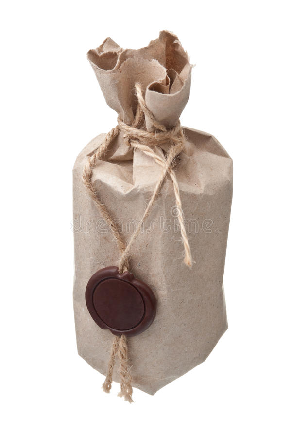 Parcel wrapped with a wax seal stock images