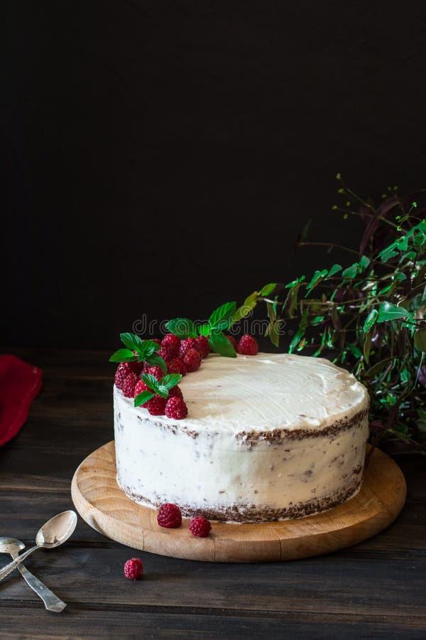 Parcela de bolo cremoso mergulhado do fruto com em fim acima da vista Bolo da framboesa com chocolate Bolo de chocolate Decoração fotos de stock