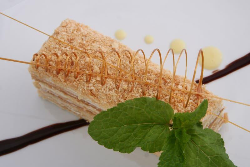 Parcela de bolo mergulhado cl?ssico doce de Napoleon em um fundo claro imagens de stock royalty free