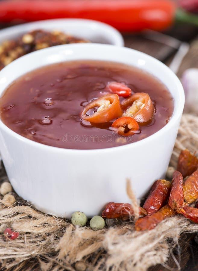 Parcela de Chili Sauce fresco imagens de stock royalty free
