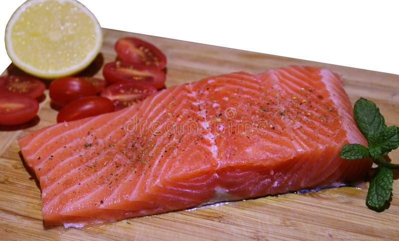 Parcela de faixa salmon fresca fotografia de stock
