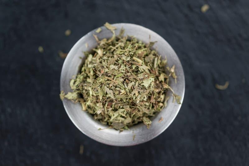 Parcela de folhas do Stevia & de x28; secado, shot& x29 do close-up; imagens de stock