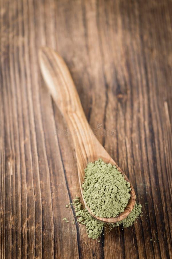 Parcela de pó da folha do Stevia fotos de stock