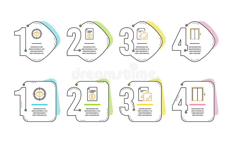 Parcele o grupo do seguimento, dos ícones da estratégia e da informação técnica Levante o sinal Caixa no alvo, enigma, documentaç ilustração royalty free