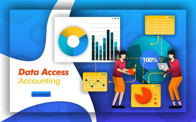 A parceria explicando faz fácil analisar a contabilidade do acesso de dados para selecionar o imposto, o serviço e os relatórios  ilustração stock