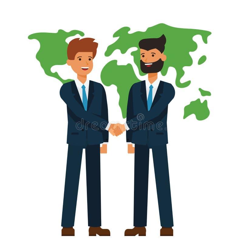 Parceria global, homens de negócios que agitam o conceito liso da ilustração do vetor dos desenhos animados das mãos no fundo bra ilustração stock