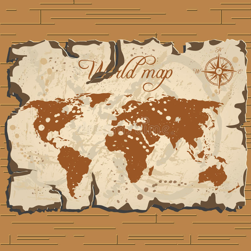 Parchament вектора старое Карта сокровища и мира иллюстрация вектора