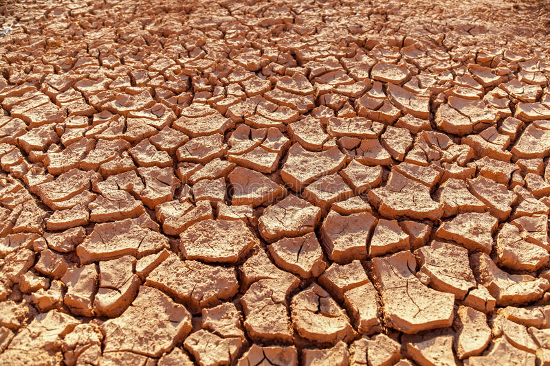Parched earth. Land with dry cracked ground without water stock image