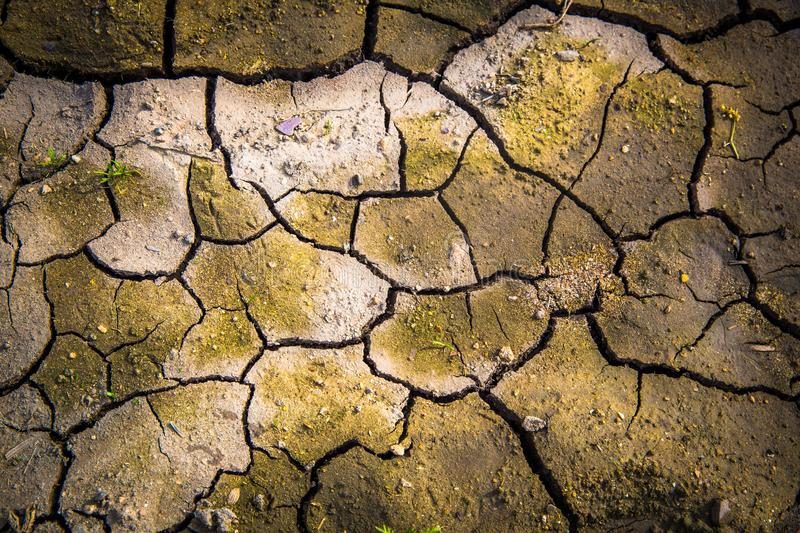 Parched Earth Yearning for Water. This parched earth was once covered with water. Now dry and barren. Is this a seasonal change or a harbinger of climate change stock images
