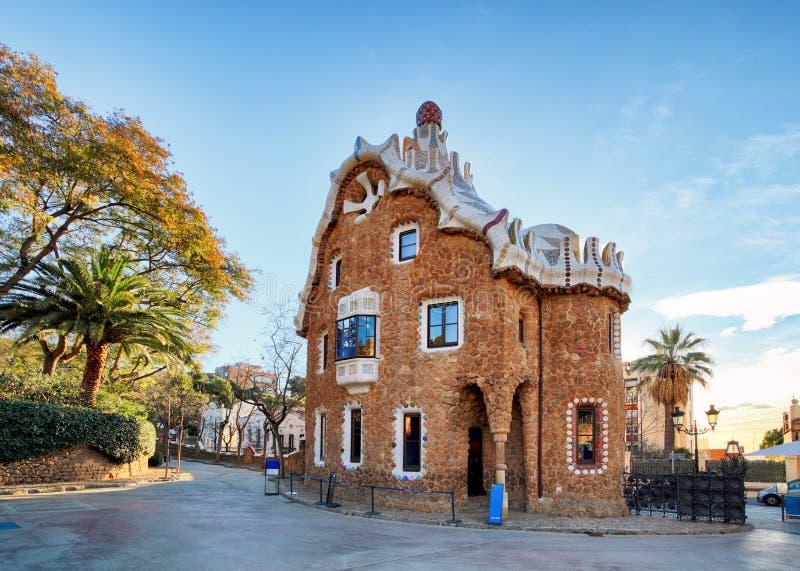Parcheggi Guell progettato da Antoni Gaudi a Barcellona, Spagna immagine stock