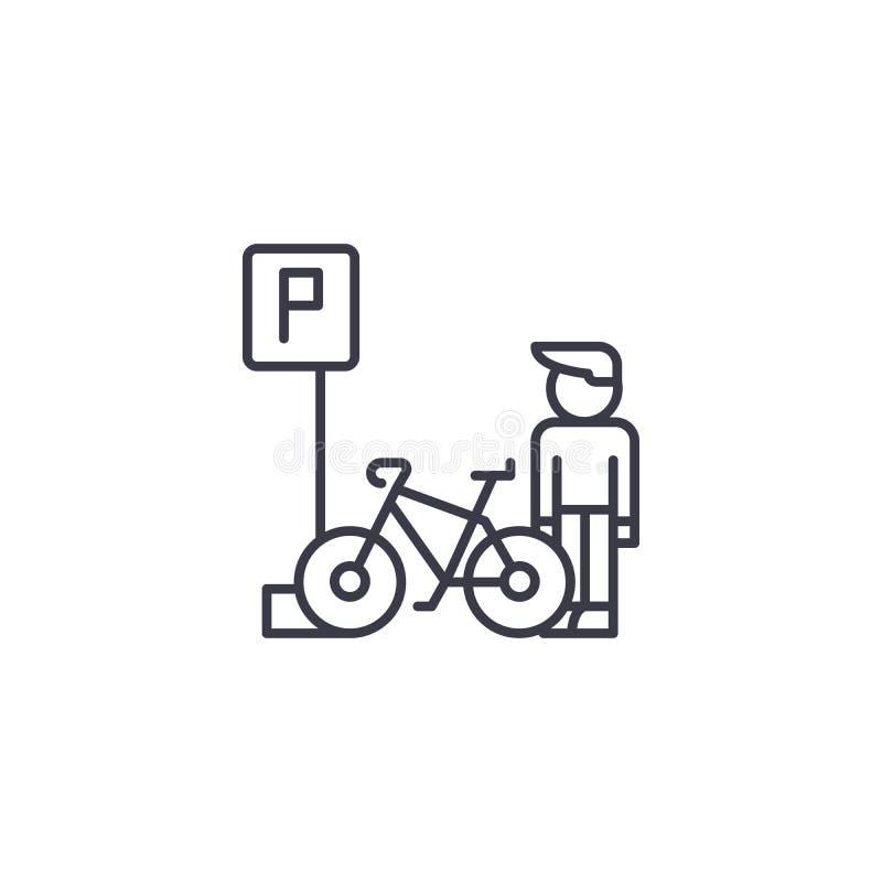 Parcheggiando per il concetto lineare dell'icona delle biciclette Parcheggiando per le biciclette allini il segno di vettore, il  royalty illustrazione gratis
