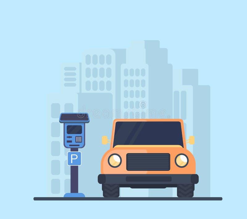 Parcheggio con l'automobile in città Terminale o metri di pagamento elettronico per parcheggio pagato con una batteria solare royalty illustrazione gratis