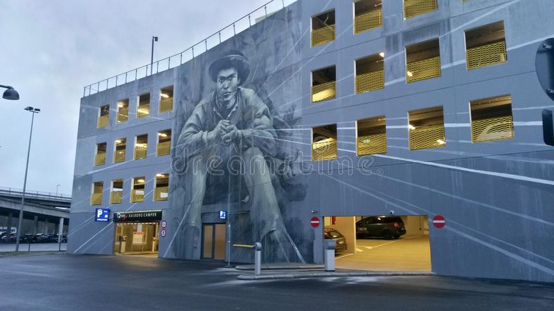 Parcheggio della città universitaria di Aalborg - Wallpainting fotografia stock
