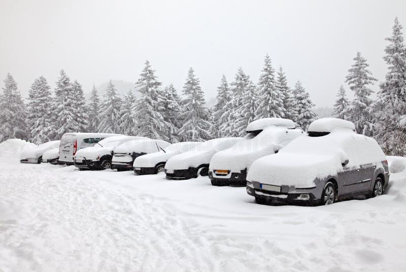 Parcheggio di inverno immagini stock