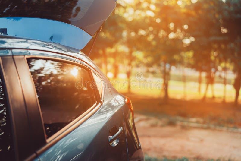 Parcheggio di riscaldamento dell'automobile della berlina per il viaggio in foresta al tramonto immagine stock libera da diritti