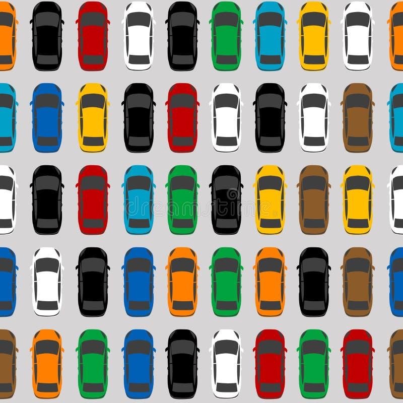 Parcheggio di vista aerea con i lotti delle automobili multicolori illustrazione vettoriale