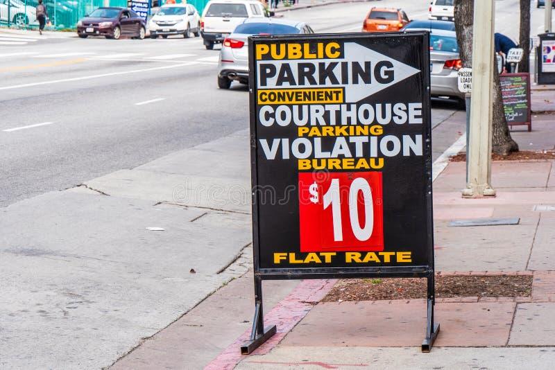 Parcheggio a Los Angeles del centro - CALIFORNIA, U.S.A. - 18 MARZO 2019 fotografia stock