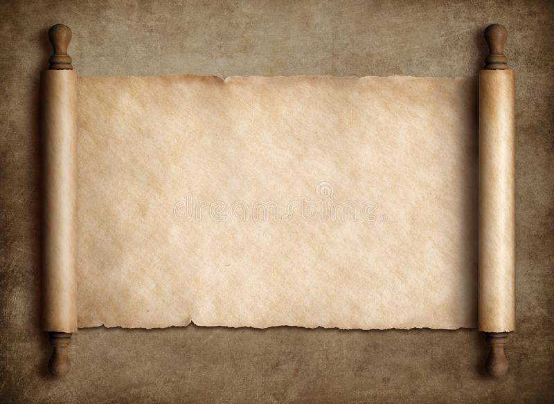 Parchemin antique de rouleau au-dessus de vieux fond de papier photos stock