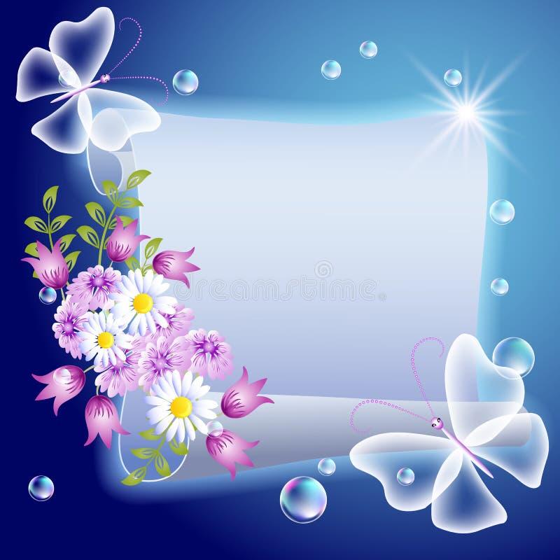 Parchemin avec des fleurs et des butterfliers illustration de vecteur