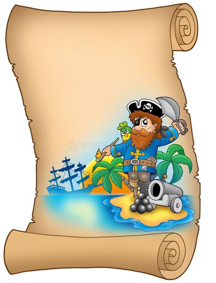 Parchemin avec le pirate et le canon illustration de vecteur