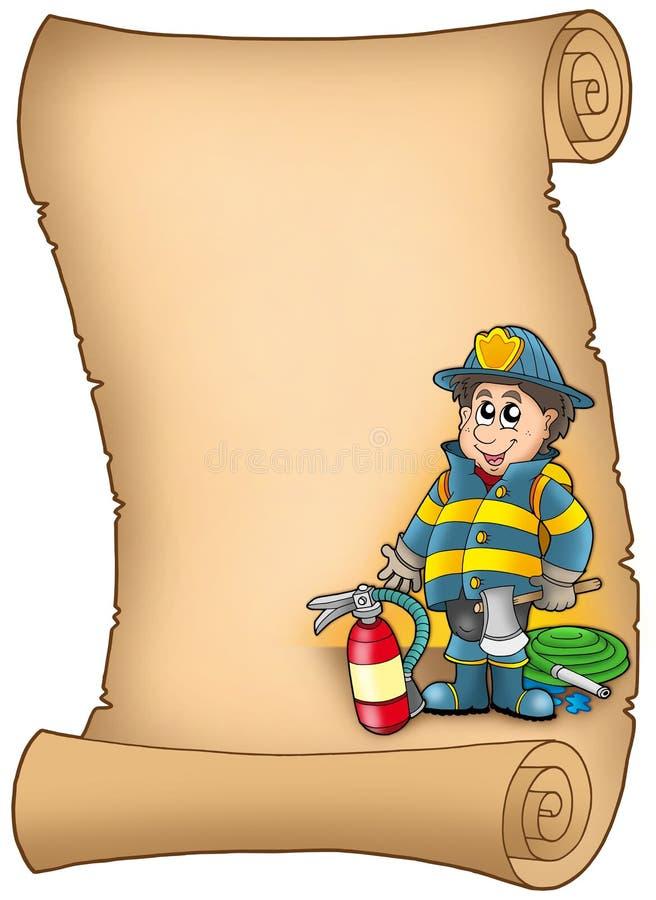Parchemin avec le pompier illustration de vecteur