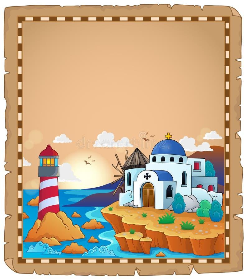 Parchemin avec le thème grec 2 illustration de vecteur