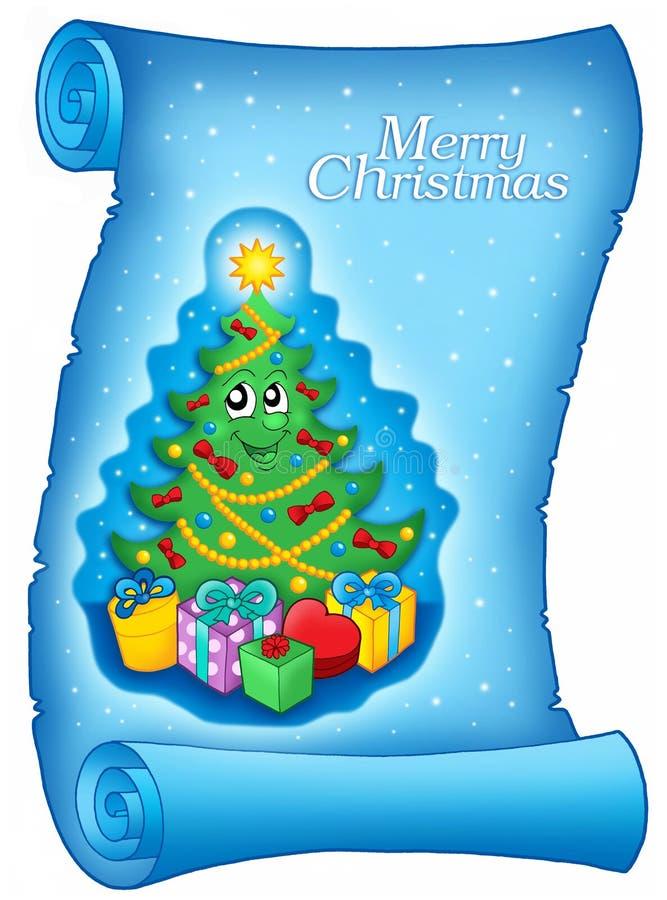 Parchemin bleu avec Noël illustration de vecteur