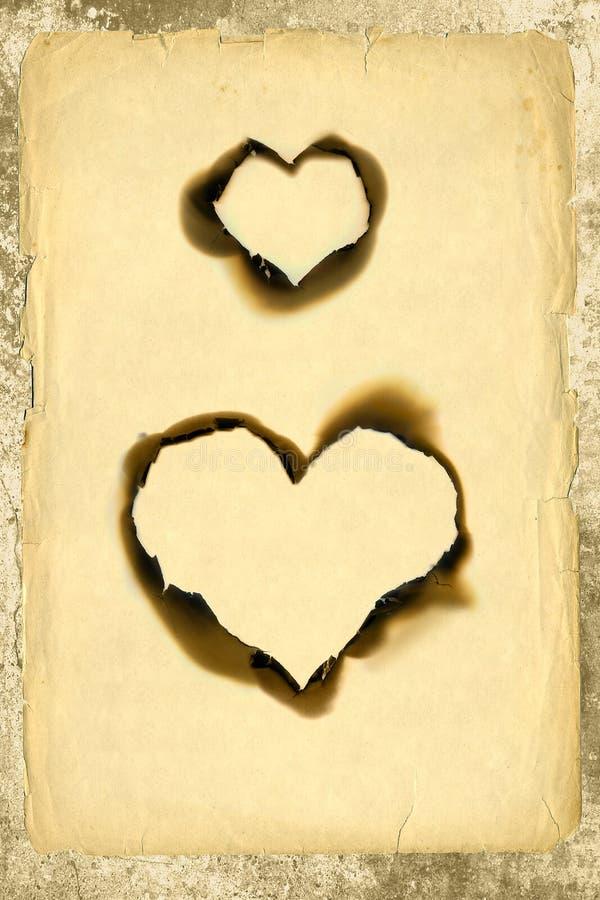 Parchemin de forme de coeur images stock