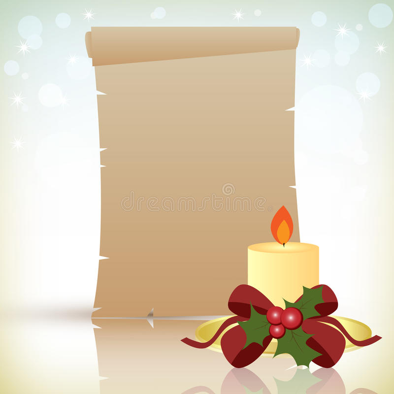 Parchemin de Noël avec la bougie illustration de vecteur