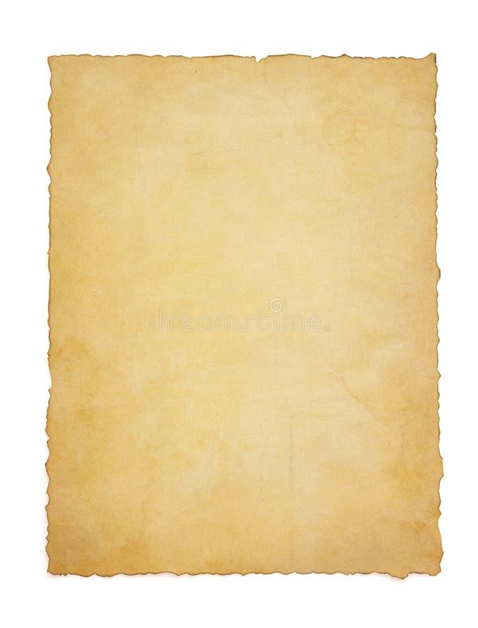 Parchemin de papier de cru sur le blanc photos stock