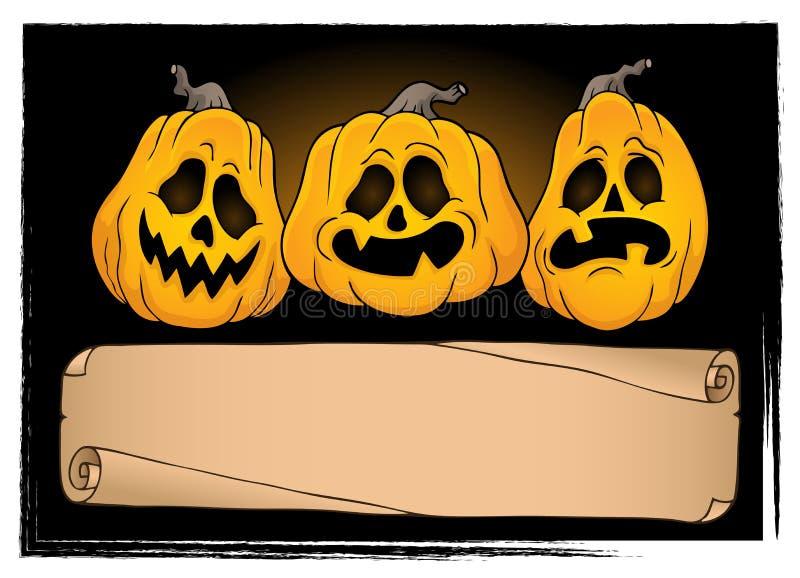 Parchemin et potirons larges 3 de Halloween illustration de vecteur