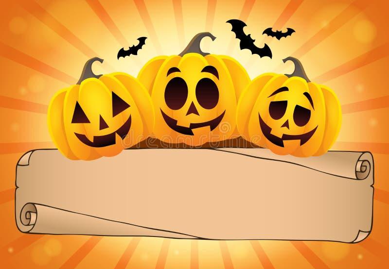 Parchemin et potirons larges 1 de Halloween illustration de vecteur