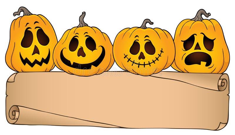 Parchemin et potirons larges 4 de Halloween illustration de vecteur