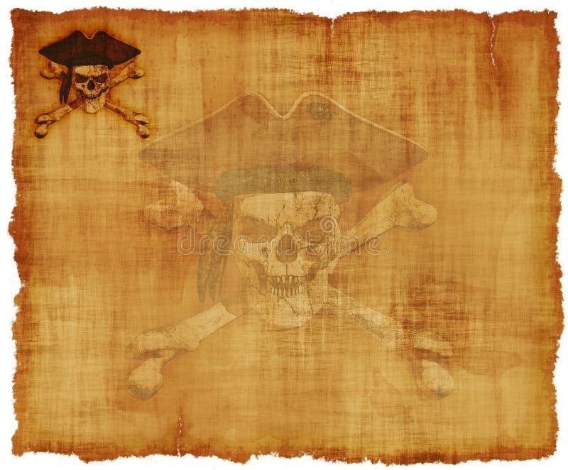 Parchemin grunge de crâne de pirate images libres de droits