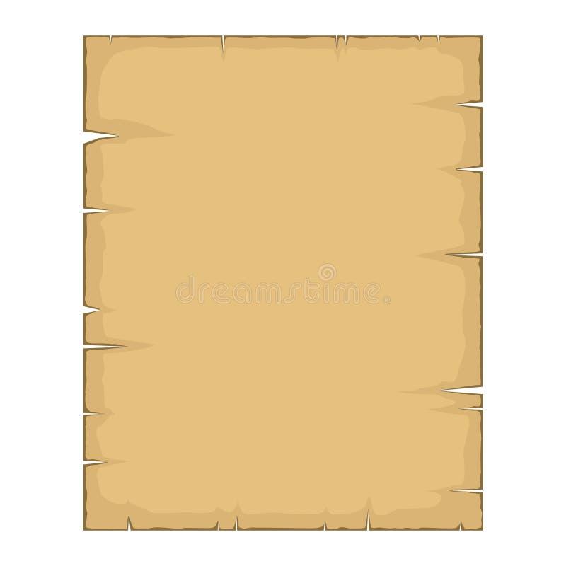 parchemin Vieille bande dessinée vide de papier de papyrus d'isolement sur le fond blanc Rétro feuille vide de papyrus dans le st illustration stock