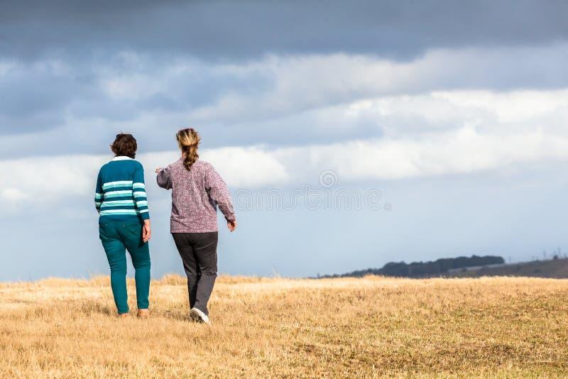 Parchi naturali di camminata della figlia della madre fotografia stock