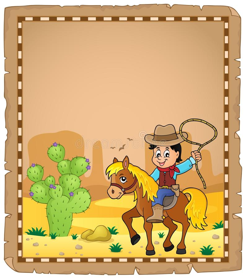 Parchment with cowboy on horse theme 1 vector illustration
