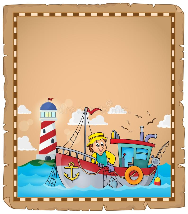 Parchment with fishing boat theme 2 vector illustration