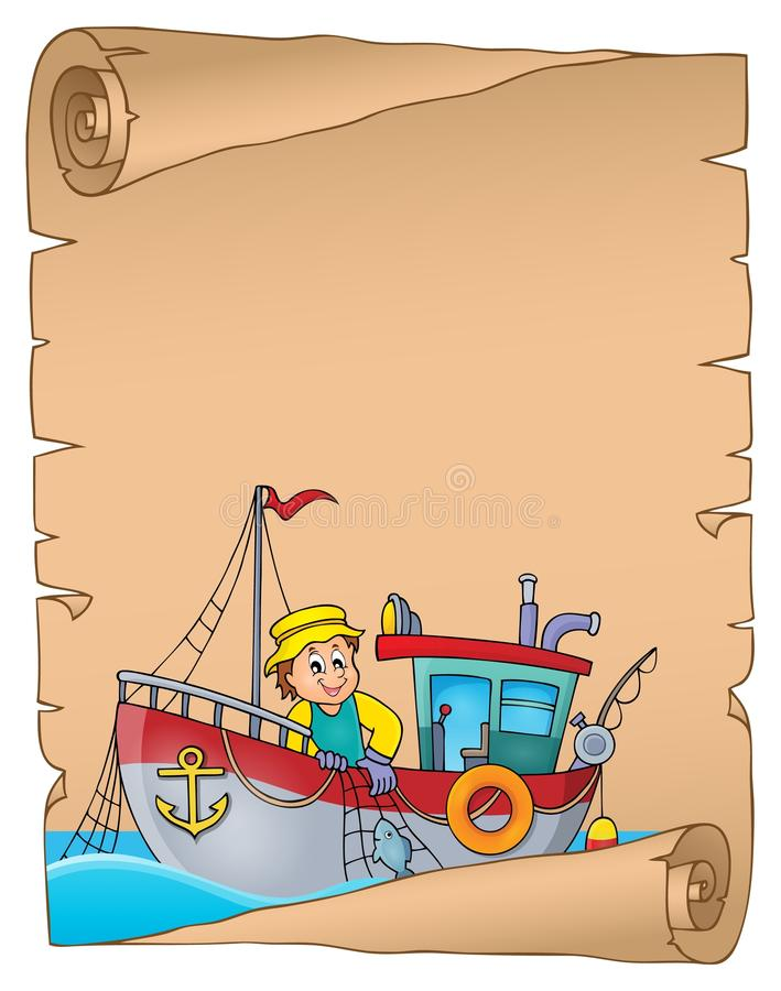 Parchment with fishing boat theme 1 stock illustration