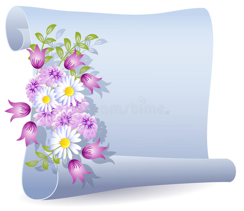 Parchment with flowers. Rolled parchment with beautiful flowers vector illustration