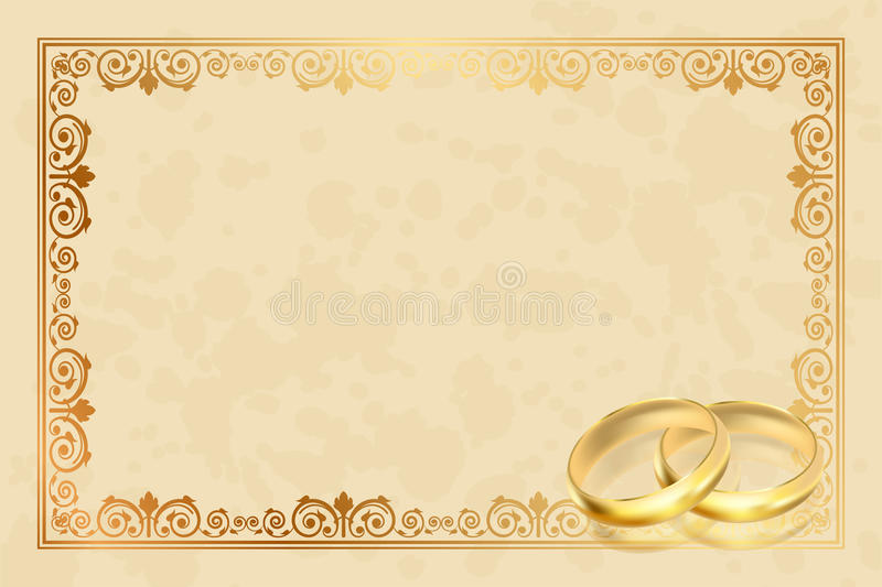 Parchment frame with gold rings. Vector parchment frame with gold rings royalty free illustration