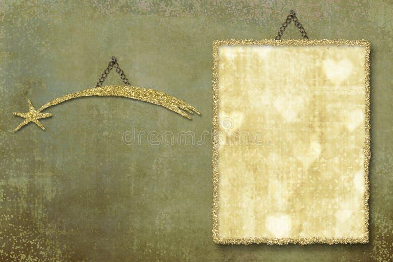 Gold frame and star on grunge background vector illustration