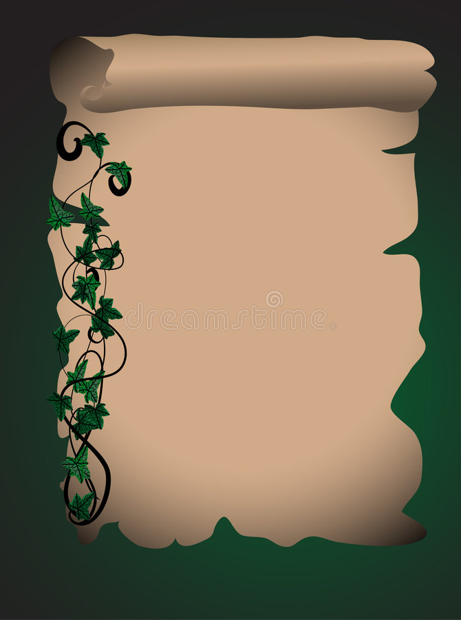 Parchment with ivy royalty free illustration