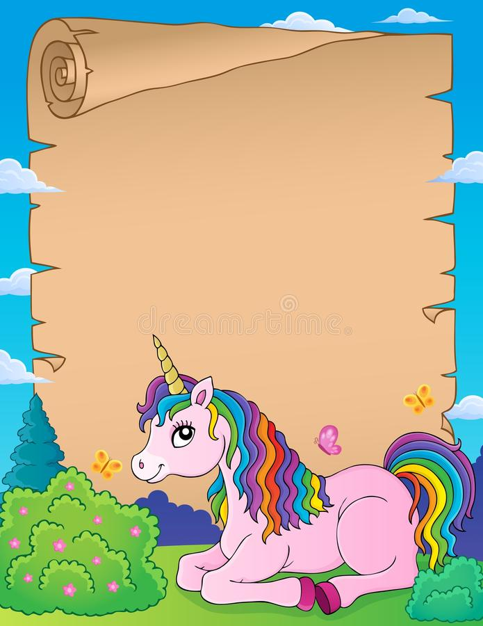 Parchment with lying unicorn theme 1 vector illustration
